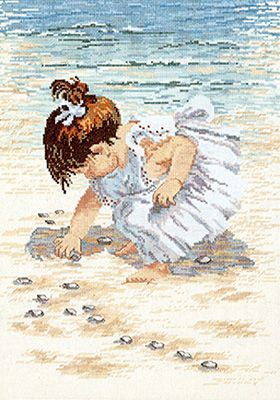"""Counted Cross Stitch - Collecting Shells Counted Cross Stitch Kit - 12""""X16"""" 14 Count Another pattern I must get to!"""