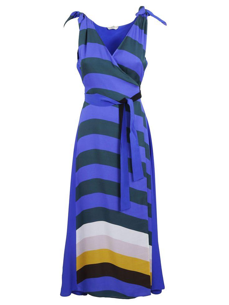 Stripe Wrap Front Dress from Fendi: Blue/Green Stripe Wrap Front Dress with V-neck, belt at waist, ribbon tie shoulders, stripe pattern, sleeveless style and a…