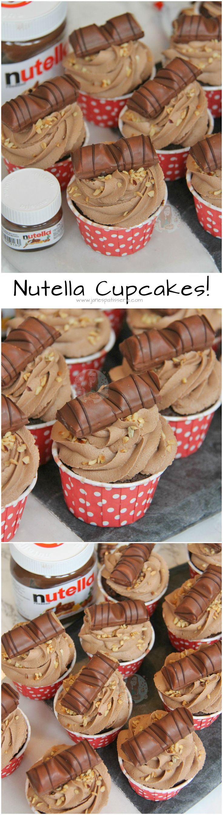 Nutella Cupcakes! ❤️ Chocolatey Cupcake dotted with Hazelnuts, topped with a Creamy & Delicious Nutella Buttercream Frosting with Kinder Bueno… Amazing Nutella Cupcakes!