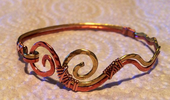 Mississippi River Copper and Brass Hammered Wire wrapped Bracelet, twin rivers, two toned waves, mississippi delta,