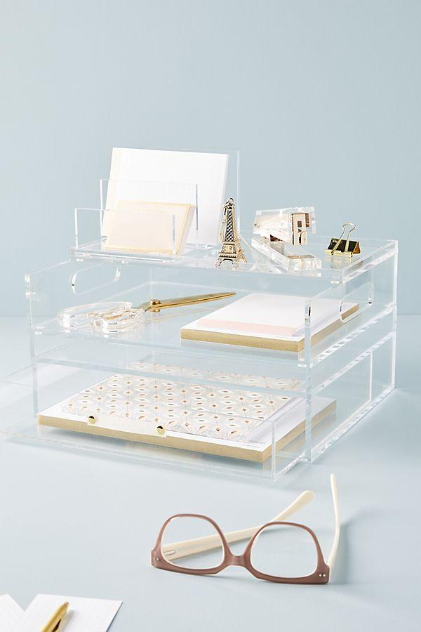 Acrylic Bloc Collection Desk Storage Work Desk Decor Home