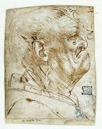 Leonardo da Vinci, Testa di vecchio di profilo verso destra, 1487-90.