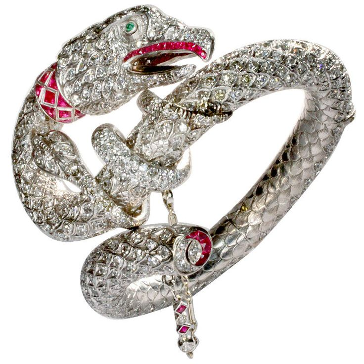The Gypsy Rose Lee  Diamond and Ruby Serpent Bracelet | From a unique collection of vintage clamper bracelets at https://www.1stdibs.com/jewelry/bracelets/clamper-bracelets/