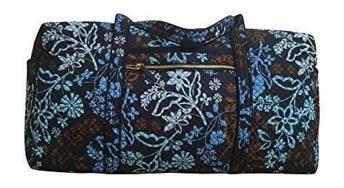 Vera Bradley Large Duffel LIMITED EDITION with Gold-Colored Zippers (Java Floral)