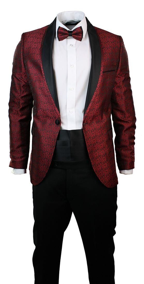 Mens Slim Fit Wine Maroon Black Paisley Suit Tuxedo Shawl Collar.. Like the concept.. Prefer darker color than maroon