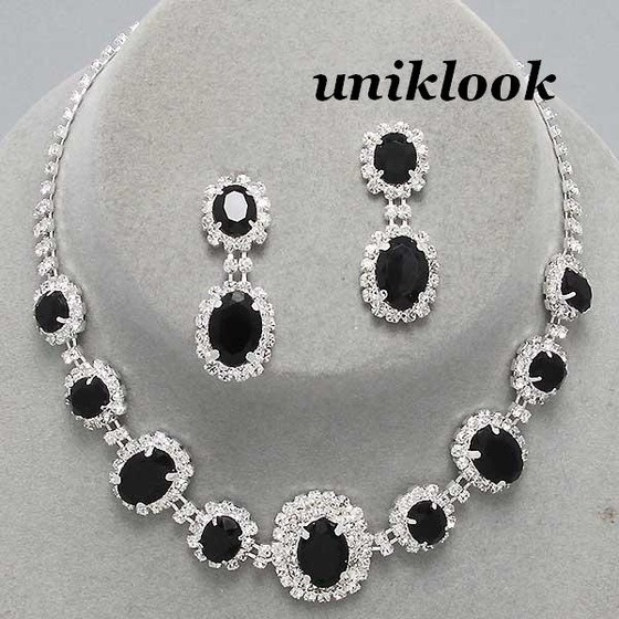 Wedding Bridesmaid Bridal Silver Black Clear Crystal Jewelry Necklace Earrings $22.99