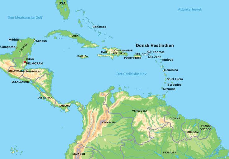 Kort Dansk Vestindien: se de største byer, f.eks. Charlotte Amalie