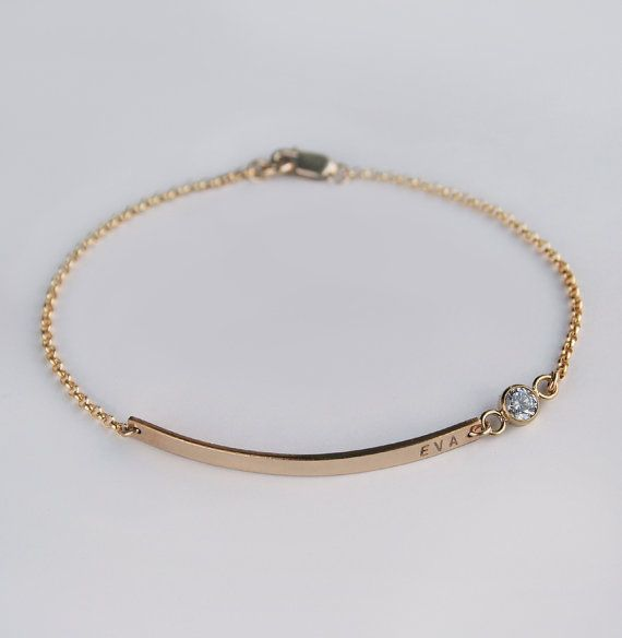 nameplate bracelet diamond cz bracelet personalized gold bar