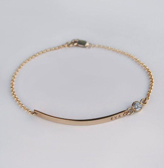 Nameplate bracelet - Diamond CZ bracelet - Personalized gold bar bracelet - Name date bracelet - Luca jewelry - Bridesmaids favor