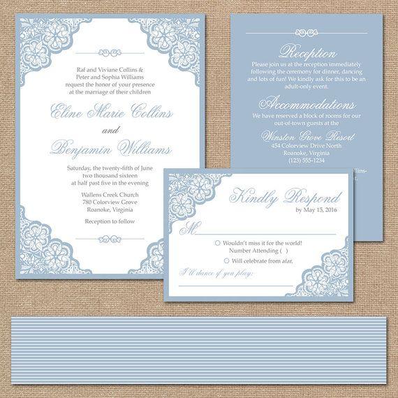 Elegant Lace Wedding Invitation Suite, Square Invitation // Dusty Blue Wedding Invitation // DIY Printable Wedding Invite