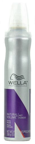 Wella Professionals Natural Volume Styling Mousse 10.1oz / 288 g    Styling Mousse - Hold Level 2  Easy-to-create volume that gives hair  Distribute evenly from root to end on damp hair, then blow dry for light, natural support of fine or limp hair natural movement and catches attention.  On damp hair, distribute evenly from root to end. Blow dry into fine or limp hair for light, natural support.