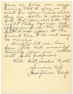 Josephine Earp, Wyatt Earp's Jewish Widow, Admits Her Destitution to Earp's Biographer.