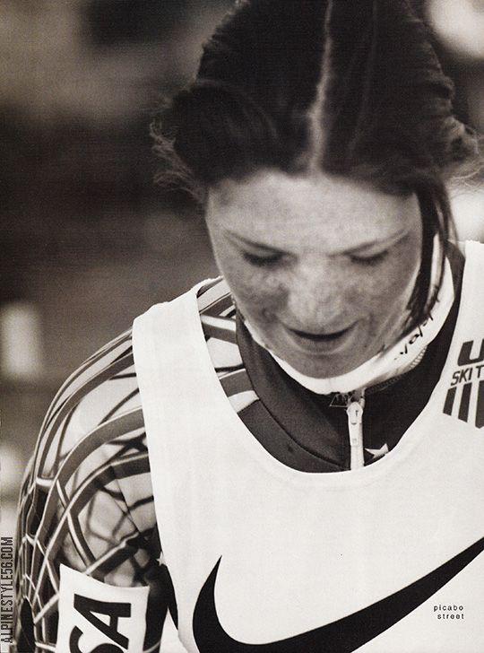 Picabo Street, ski racer, Nike ad, 1996.
