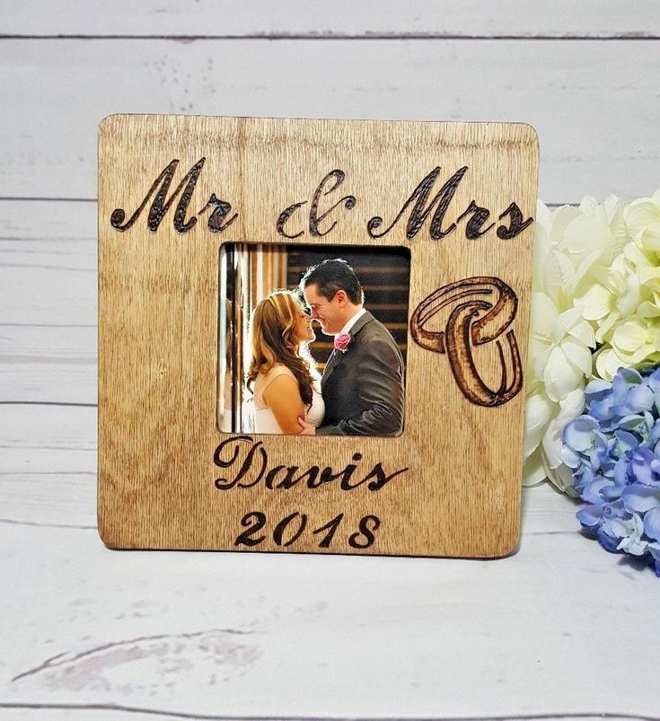 Personalized Engraved Photo Frame, MR & MRS Wedding Names & Date burn engraved #RusticStyles #Country