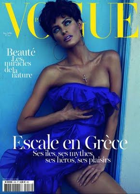 In the blue of Greece devoted the summer issue of French Vogue. An issue strongly painted in blue and bathed with plenty of sun. Dedicated to the summer Greece and editorials that were in Greek Islands. The tribute is richly illustrated and flooded with images of islands of the Mediterranean sea and the coast of the Peloponnese and never fail to set the pace for new artists or artists who live, work and earn all their energy in the Greek territory. The myth, the heroes, the evil pleasures and...: Isabeli Fontana, Vogue Paris, Paris Junejuli, Junejuli 2011, Vogue Magazines, Magazines Covers, Vogue Covers, June July, Isabelifontana