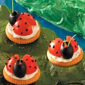 We made these tasty appetizers for Kaylin's 5th birthday party; they were a HUGE hit! We used Alouette Cheese Spread (Garlic and Herb), cherry tomatoes, black olives for the head, chives for the antennas, and cream cheese dyed black for the dots. A little time consuming, but well worth every minute!