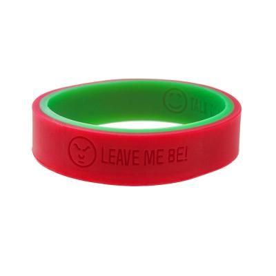 emotie armband die aan twee kanten te dragen is, groen: ik ben rustig, rood: laat me met rust