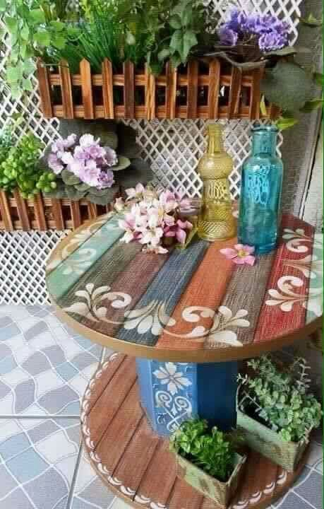 "Cool & pretty spool table [   ""Spool turned into a side table. I love the colors and the cute little stencil on this. :)"",   ""Great inspiration for creating a table from an industrial spool. This is a picture only."",   ""JOYCE: Wonder if we could make these out of the abandoned 2 spool tables next door??"",   ""I like those planters maybe even could be connected to our railings on patio ?"",   ""I LIKE THE LATTICE FOR THE RECYCLE BIN CONTAINER WITH THE HANGING PLANTERS"",   ""Cool design for table…"