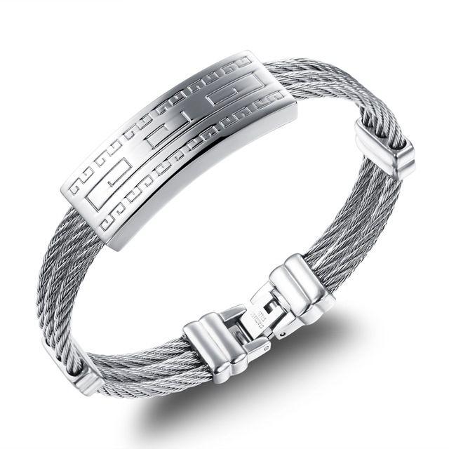 Оптовая 2016 горячие продажа мужчины ювелирные изделия титана стали браслет Great Wall шаблон серебряные браслеты мужские аксессуары, LGH758