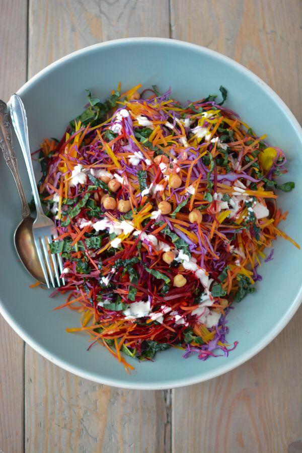 shredded rainbow salad with greek yogurt caesar dressing.