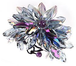 Handmade Genuine Crystal Purple Cuff Bracelet