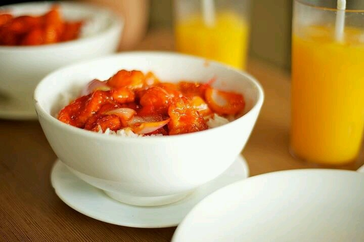 Sweet and Sour Pork rice topping