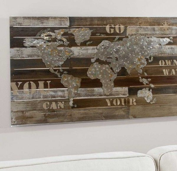 weltkarte bild holz metall auf wand wanddekoration ideen schlafzimmer wanddeko wohnzimmer modern