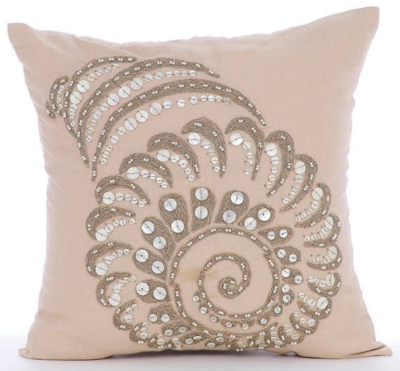 """Pearls And Jute Sea Shell 16""""X16"""" Cotton Linen Beige Pillow Cases - Shell Burst"""