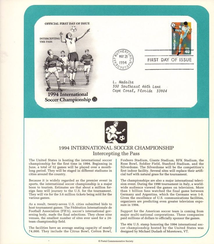 Collectible USPS, International Soccer Championship, Commemorative,40 Cent Stamp