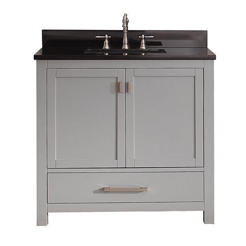Modero Chilled Gray 36 Inch Vanity Combo With Black Granite Top Avanity Vanities Bathroom
