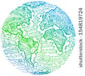 Blue green world map by carla castagno, via Shutterstock