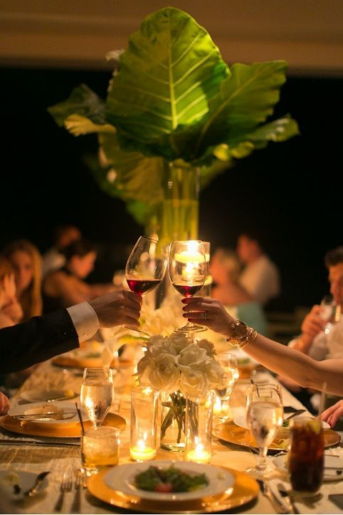 Tall, Palm Leaf Centerpiece | Event Planning, Design & Floral Production: tracytaylorward.com | Photography: brycecoveyphotography.com | Wedding Venue: The Viceroy Anguilla