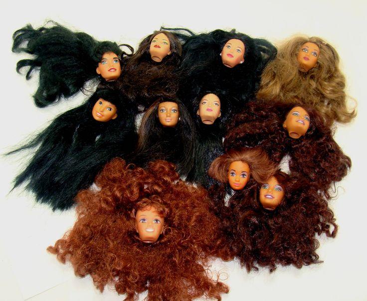 Vintage barbie doll head lot-african american barbie head lot-oriental barbie dolls-old barbie doll head lot-asian barbie doll-black barbie by BECKSRELICS on Etsy