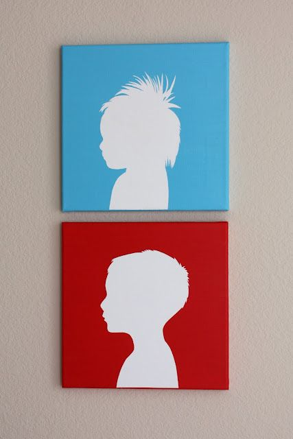 DIY Silhouette Paintings: Canvas Silhouette, Diy Canvases, Gift, Crafts Ideas, Kids Silhouette, Silhouette Tutorials, Canvases Silhouettes, Hair, Bright Colors