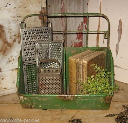 Kitchen Garden Box With Wire Top: Green Metal DOUBLE BIN BOX For Kitchen/Plant/Desk/Laundry