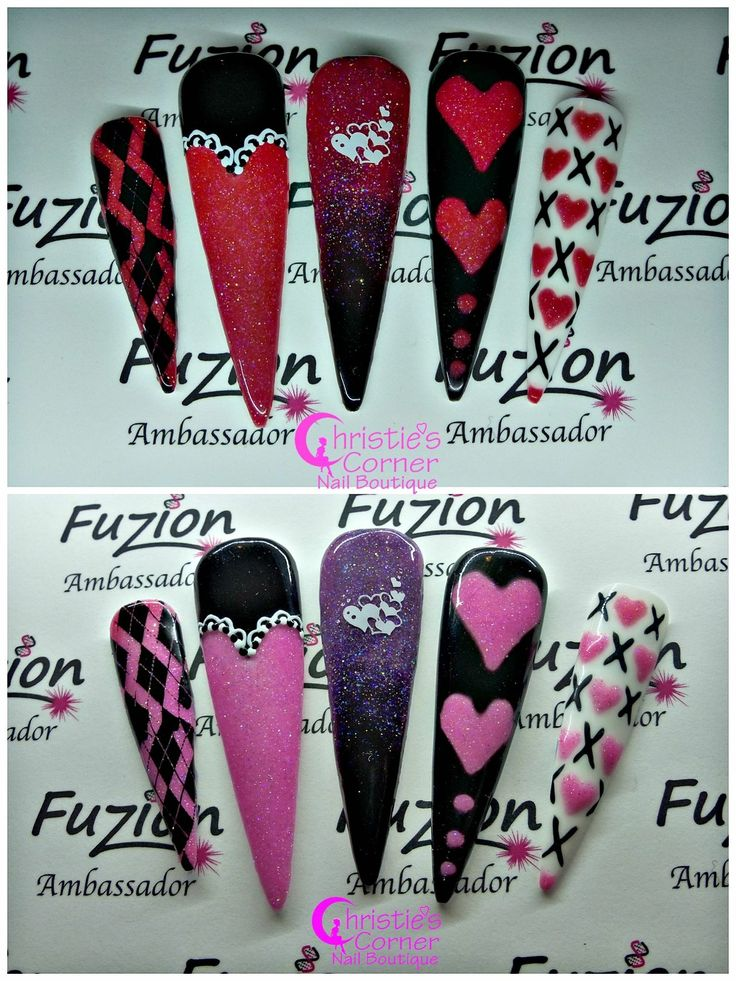 """Obsessed with this new chameleon colour changing gel from Fuzion UV Gel  """"Spoil Me!"""" (Top Pic: Cold, Bottom Pic: Warm) LIMITED ADDITION #fuzionsweetheartz Valentines Collection ALMOST SOLD OUT :( Order your today before its too late! Visit http://nailfuzion.com/distributors/  for a list of distributors. #christiemccrea_fuzionambassador #fuzionfanatic #fuzionobsessed #funwithfuzion #fuzionuvgel #fuzionnails #wherebeautymeetstechnology"""