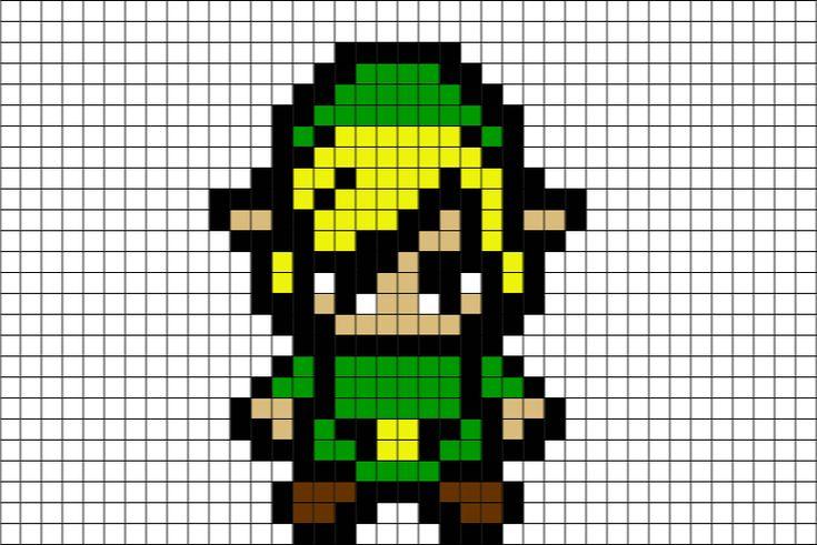 zelda pixel link grid minecraft template paper lego nintendo mario nes templates perler bead graph brik hama beads quest dragon