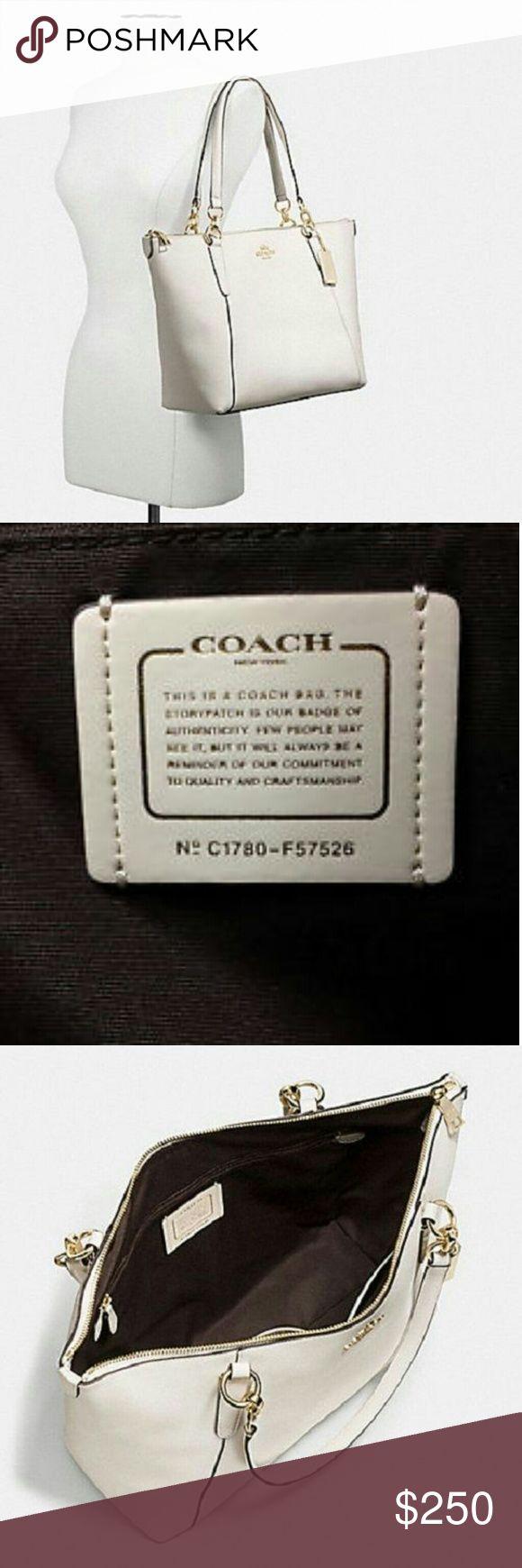 Coach New York Cross-Grain Leather Handbag New Coach F57526 AVA Crossgrain Leather Tote Handbag Purse Shoulder Bag in White Coach Bags Totes