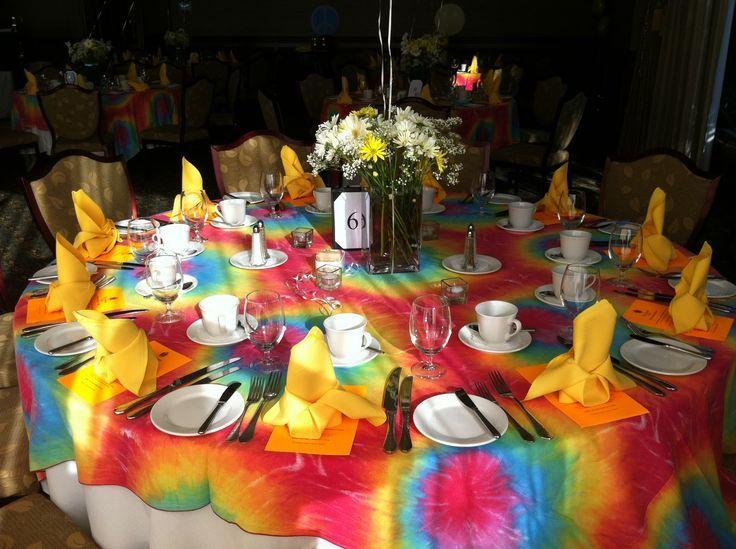 Tie Dye Wedding Ideas, 60S Party, Theme Parties, Sixties Party, Table Setting, Dye Tablecloths, Tye Dye