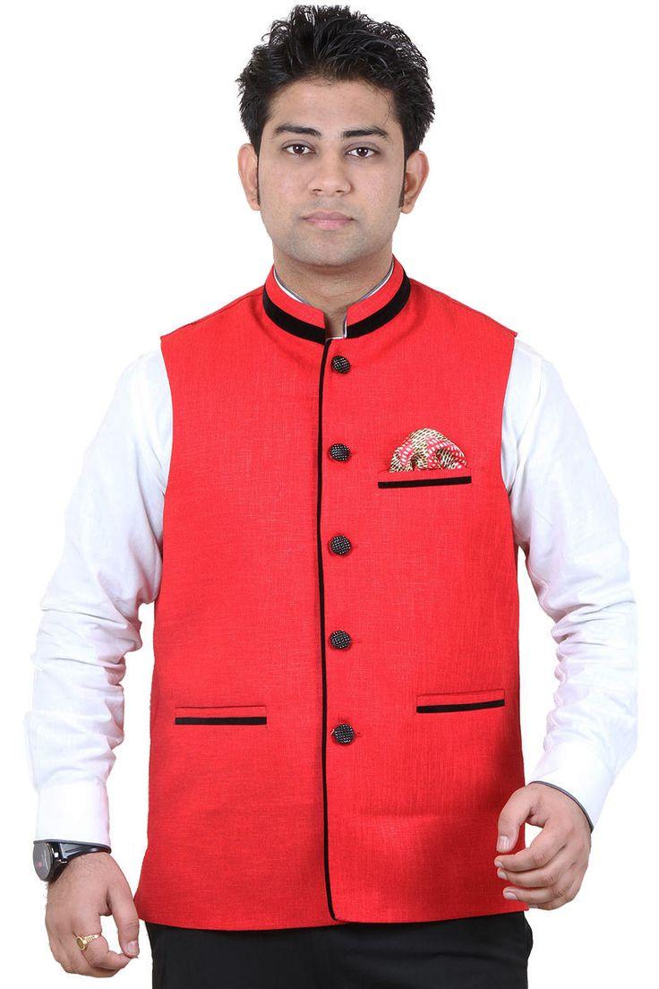 http://tinyurl.com/hs4vl6a Buy Exclusive Party Wear GETABHI Red Cotton Modi Jackets Online For Men at GetAbhi.com