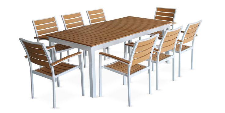 Photo Table de jardin à rallonge extensible 205/260cm en bois composite, 8 fauteuils-Marron