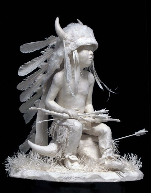 Sculptures of Native American scenes made out of paper by Allen and Patty Eckman - Telegraph