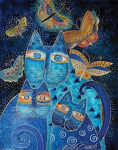 Blue Cats with Butterflies by Laurel Burch