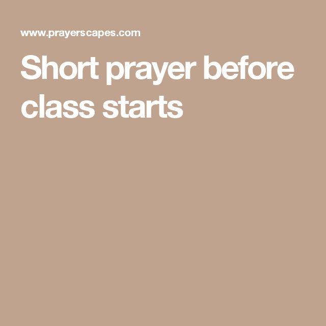 Short prayer before class starts