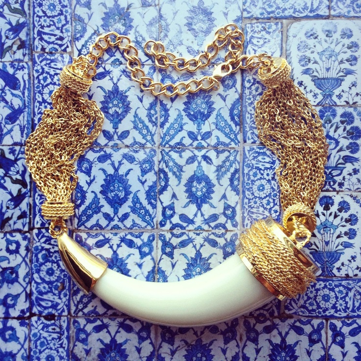 Pree Brulee - Sultan's Treasure Elephant Horn Necklace - 18K Gold Plated