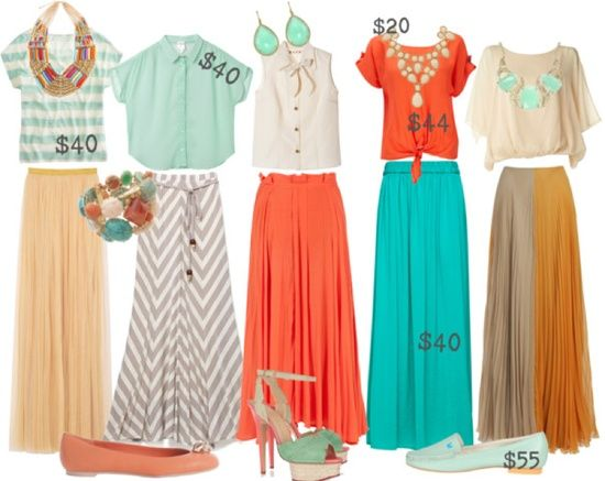 Maxi skirt outfits-Love the turqoise skirt, orange top and statement necklace.