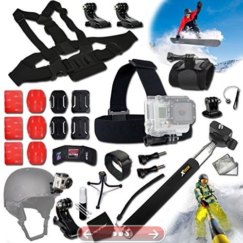 Xtech GOPRO Hero SKATEBOARD ACCESSORIES Kit for GoPro Hero 4 3 3 2 1 Hero4 Hero3 Hero2 Hero 4 Silver Hero 4 Black Hero 3 Hero3 Hero 3 Silver Hero 3 Black and for Skiing Ski-Bobbing Ski Jumping Snowboarding Skateboarding Rollerblading Skating Ice Skating Roller Skating and other Similar Sports Activities Includes: Head Strap Mount  Selfie Stick Monopod Pole  Helmet Harness Mount  Chest Strap Mount  Camera Wrist Mount  2 J-Hooks  3 Flat Adhesive Stickers  Flat Surface Mounts  3 Curved Adhesive…
