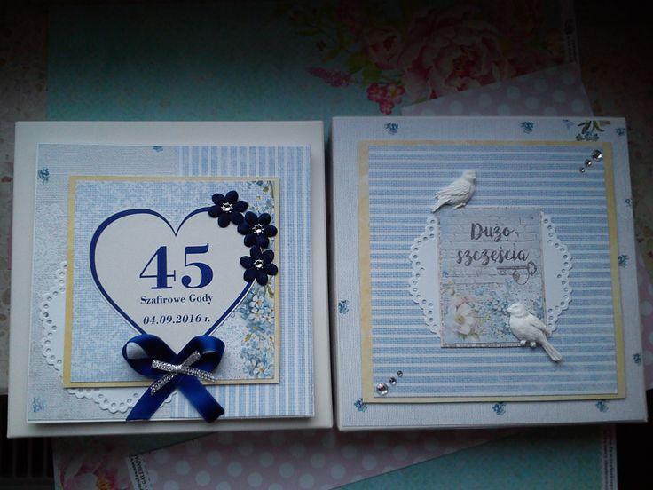 Kartka z pudełkiem na 45 rocznicę ślubu. Szafirowe gody.
