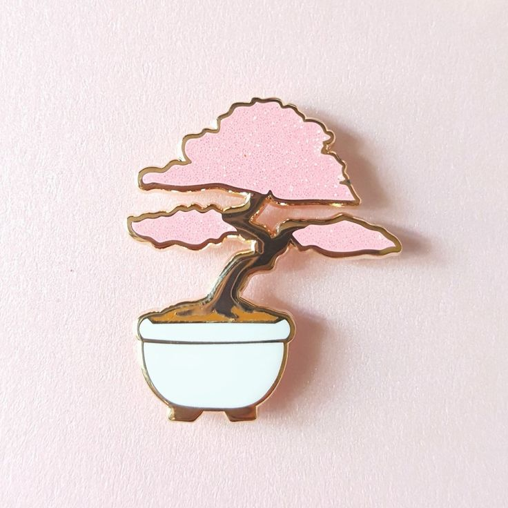 Pink bonsai pin