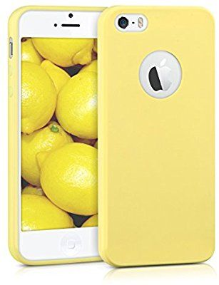 c9fabadc98f Amazon.com  kwmobile TPU Silicone Case for Apple iPhone SE   5   5S - Soft  Flexible Shock Absorbent Protective Phone Cover - Yellow Matte  Cell Phones    ...